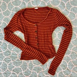 Garage Stripped Cropped Long Sleeve | XS